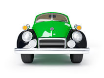 Retro green car. Green retro car from forties on a white background. Front view Stock Photos