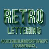 Retro Vintage Font. Retro Green Colored Vintage Text 3D Effects, Font Typeset Vector lettering set Stock Images