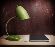 Retro green desk lamp Stock Photography