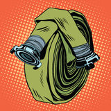 Retro green fire hose. Pop art vector. The fight against fire. realistic illustration Stock Photos