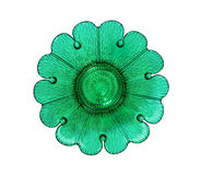 Retro green glass vase. On a white background Royalty Free Stock Photography