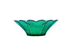 Retro green glass vase. On a white background Stock Photos