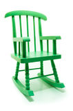 Retro green rocking chair in white background Stock Photo