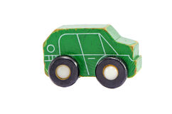 Retro green wooden car toy model isolated on white Royalty Free Stock Photography