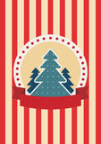 Retro greeting card with Christmas tree. Colored illustration. EPS 10.0. RGB. Illustration can be used as template for events greeting cards or for holiday Stock Photo