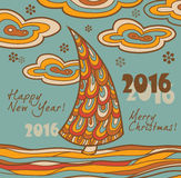 Retro greeting card 2016 with Christmas tree. Retro New Year card 2016 with Christmas tree. illustration royalty free illustration