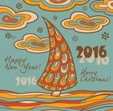 Retro greeting card 2016 with Christmas tree Stock Image