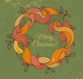 Retro greeting card with Christmas wreath Royalty Free Stock Images