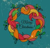 Retro greeting card with Christmas wreath Royalty Free Stock Photo