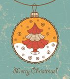 Retro greeting card with glass ball and Christmas Royalty Free Stock Images