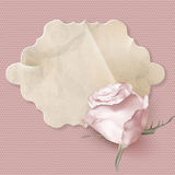 Retro greeting card with pink rose. EPS 10 Royalty Free Stock Photo