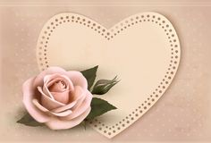 Retro greeting card with pink rose and heart. Stock Images