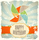 Retro greeting card with windmill Royalty Free Stock Images