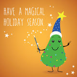 Retro greetings postcard. Living Christmas tree with a wizard hat, eyes, mouth, hands and foots, decorated with colorful ornaments, wishing magical holidays Stock Photo