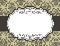 Retro grens/kader met damastpatroon Stock Afbeelding
