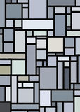 Retro Grey Block Mondrian Inspired Art. Inspired by Mondrian this modern art print features multiple sized blocks outlined in heavy black and complimentary vector illustration
