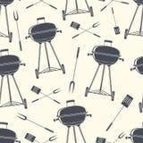 Retro griglia del BBQ, modello senza cuciture Fotografie Stock