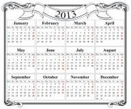 retro griglia del calendario 2013 Immagine Stock
