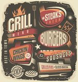 Retro grill menu design template Royalty Free Stock Photography