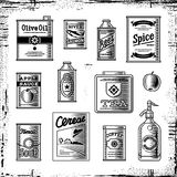 Retro grocery set black and white Stock Photo