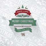 Retro groene donkerrode eenvoudige uitstekende Vrolijke Kerstmis die grijze kaart begroeten Stock Foto's
