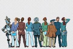 Retro groep zakenlieden en onderneemsters met de robot op I stock illustratie