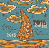 Retro groetkaart 2016 met Kerstboom Stock Fotografie
