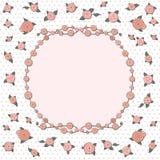 Retro groetkaart met roze nam toe Royalty-vrije Stock Fotografie