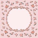 Retro groetkaart met roze nam toe Royalty-vrije Stock Afbeelding