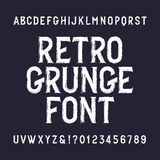 Retro grunge alphabet font. Distressed letters and numbers. Stock Photo
