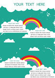 Retro grunge background with white cloud and rainbow with place Stock Photography