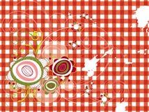 Retro- grunge Blumen auf rotem Check Stockfoto