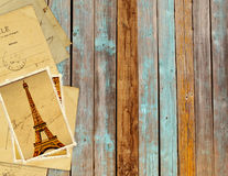 Retro grunge cards with landmark of Paris on wooden planks Royalty Free Stock Photos