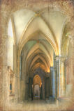 Retro grunge effect on cathedral nave image Stock Images