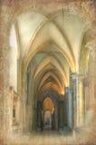 Retro- grunge Effekt auf Kathedrale Navebild Stockbilder