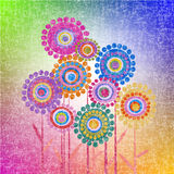 Retro grunge flowers background. Retro colored grunge flowers background Stock Images