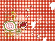 Retro grunge flowers on red check Stock Photo