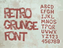 Retro grunge font with alphabet, vintage Stock Image