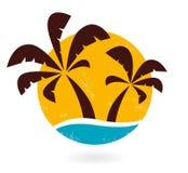 Retro grunge palms icon isolated on white Stock Photo