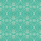 Retro grunge pattern, fifties textile design. Vector seamless pattern in emerald green, with thin delicate elegant lines, simple website or wedding invitation Stock Photos