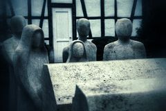Retro Grunge People No Face and Rip Coffin Sculpture Royalty Free Stock Photos