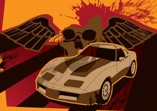 Retro Grunge Poster With Car. Vector illustration Royalty Free Stock Images
