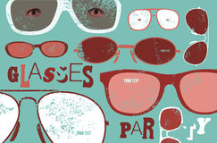 Retro grunge poster for glasses party. Glasses background. Vector illustration Royalty Free Stock Image