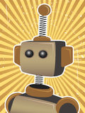 Retro Grunge Robot Poster brown sunny rays. Retro brown sunbeam surrounding robot editable  illustration Royalty Free Stock Photo