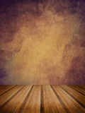 Retro grunge texture background with wooden floor platform foreg Royalty Free Stock Image