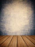 Retro grunge texture background with wooden floor platform foreg Stock Photos
