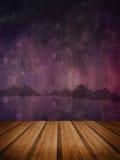 Retro grunge texture background with wooden floor platform foreg Stock Photos