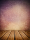 Retro grunge texture background with wooden floor platform foreg Stock Images