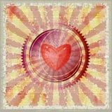 Retro grunge valentine postcard Stock Image