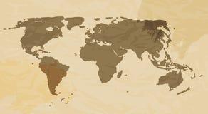 Retro Grunge World Map Vector Illustration Stock Photography